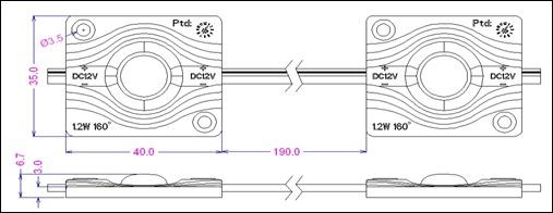 12VDC 1,2W 5050 SMD LED 30tk jadas IP67